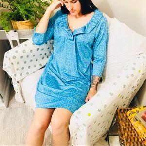 Gretchen Scott Blue Print Jersey Ruffle Neck Dress